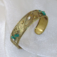 Vintage Bracelet.  Middle Eastern. Gilt over Brass Mesh with Green Crystal Dangles Cuff