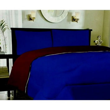 Down Alternative Reversible Comforter Navy/ Burgundy in Twin