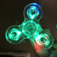 Tri-Spinner Transparent LED Light Hand Spinner Fidget Crystal Plastic EDC Switch Finger Autism Relief Anxiety Stress Toys