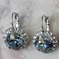 Blue Shade Crystal Earrings Statement Earrings Swarovski Crystal Earrings Crystal Rhinestone Earrings Blue Rhinestone Earrings Crystal