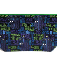 Dr Who,  Bigger on the inside , Tardis, knitting project bag, Travel Pouch,  Planner Pouch, Makeup Bag, Toiletry Bag, Zipper Pouch