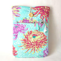 Womens Laptop bag, MacBook Pro or Air 13 inch Case, 13.3 Mac book Cover Cord Pocket, Padded Sleeve Floral Flower Bag Mums Aqua Lavender Pink