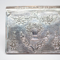 Silver Handpounded Box Tennis Prize Compact