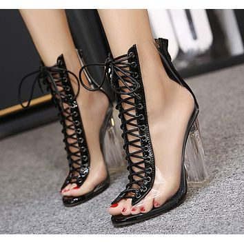 Crisscross Strappy Women Fashion Transparent Peep Toe High Heels Shoes