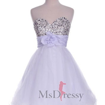 A-line Sweetheart Short/Mini Tulle Homecoming Dress at Msdressy