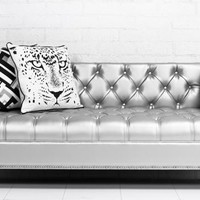 sinatra love seat in mitchell starlight silver faux leather