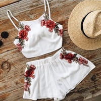 White embroidered two-piece White red flower romper