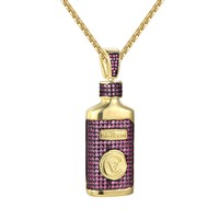 Custom Hi Tech CV Pink Iced Out Medicine Bottle Pendant Necklace