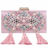 Womens Clutches Colorful Beaded Rhinestone Evening Bags Pink Satin Handbag Wedding Purses