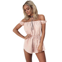 New Rompers Womens Jumpsuit 2017 Sexy Off Shoulder Long Sleeve Summer Elegant Bodycon Bodysuit Bandage Jumpsuits Dec28