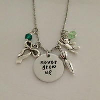 """Disney inspired Peter Pan necklace """"never grow up"""" Tinkerbell Neverland hand stamped swarovski crystals charms"""