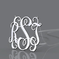 Initial name pendant monogram jewelry customized --personalized 925 sterling silver 1.25 inch monogram necklace