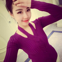 Women Sweater Sexy Hang a Neck Twist Autumn Winter Knitwear Long Sleeve Pullover knitted Sweater Slim Lady Sweaters High Quality = 1945874884