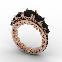 The Perfect Union of High Style Fashion and Beautifully Crafted Handmade Design 14k Rose Gold Black and White Diamond Ring Item # Love-0464