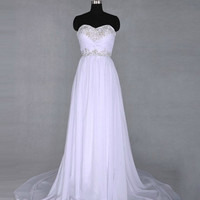 A-line Sweetheart Sleeveless Court Train Chiffon Prom Dress With Embroidery Paillette Free Shipping