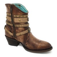 Corral Tobacco & Studded Zipper Ankle Boots