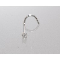20g 14k White Gold 1pt Genuine Diamond Nose Stud Curved Nose Pin