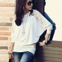 WHITE LACE STYLE LONG SLEEVE BLOUSE