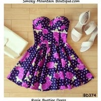 Rosie Floral Bustier Dress with Adjustable Straps - Size XS/S/M BD 374 - Smoky Mountain Boutique