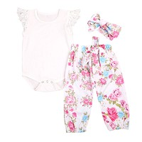 3PCS Set Newborn Baby Girl Clothing Set Lace Tops Bodysuits Short Sleeve Floral Pants Headband Outfit Clothes Baby Girls