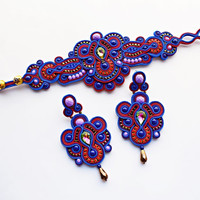 Soutache jewelry set.