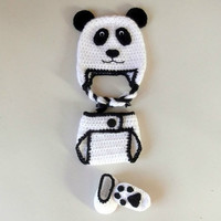 Panda Bear Baby Set CROCHET PATTERN - Beanie & Earflap Hat - Diaper Cover - Baby Booties - Photography Prop - Permission to Sell