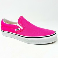 Vans Classic Slip On (Neon) Knockout Pink True White Womens Casual Shoes