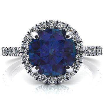 Talia Round Alexandrite 4 Prong Halo 5/8 Micropave Engagement Ring