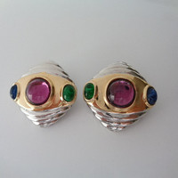 Stunning Unsigned Vintage Beauties Designer Quality Earrings Accessories 2 Colors Two Tone Gold Silver Metal Blue Green Purple Gripoix Glass