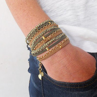Green and Brown Suede cord, A Green Cotton Cord Macrame and A Pea Gold Plated Chain - 3X Wrap Bracelet