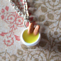 Fish Fingers and Custard - Doctor Who - Polymer Clay Necklace - Antique Bronze Chain - Amy Amelia Pond Whovian Geekery Nerd Gift Under 30