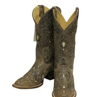 Corral Brown Crater Bone Inlay with Studs Square Toe Boots A1121