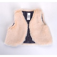 Baby Girls Clothes Cotton Fake Fur Vests Autumn Winter Outerwear Girls Boys Clothing