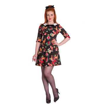 Hell Bunny Lolita Forest Animals & Flower Print Wonderland Mini Dress