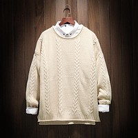 2018 autumn winter style Knitted sweater mens pullover sweaters Simple style O neck sweater jumpers male knitwear 100% acrylic