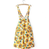 Vintage American apparel AA Sunflower Print Rompers macacao combinaison femme Playsuit Shorts feminino Jumpsuit Overalls
