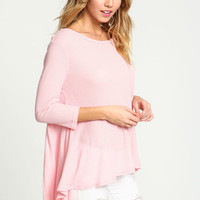 PINK WAFFLE KNIT LOOSE TOP