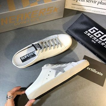 Golden Goose Ggdb White Leather And Silver Star Slipper
