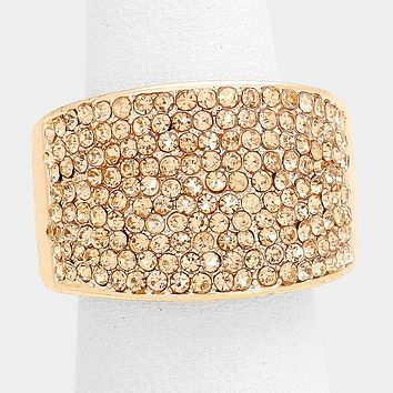 """.60"""" wide crystal pave stretch cocktail ring"""
