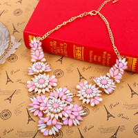 Flower Statement Necklace Bib Cluster Necklace Pendant Bubble Choker Necklace Bridal Necklace Jewelry Shourouk Inspired Necklace Jewelry