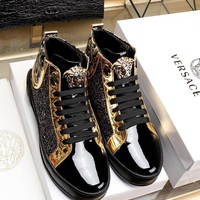 VERSACE  Trending Women Black Leather Side Zip Lace-up Ankle Boots Shoes High Boots