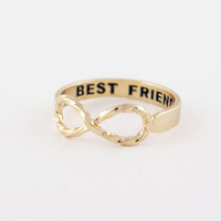 R021 Twist Infinity of Best Friends Ring set Sister Rings O Jewelry Gold Silver plated Friends Gifts