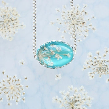 Petite Pressed Flower Necklace Turquoise by NaturalPrettyThings
