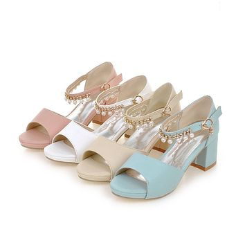 Women Sandals Peep Toes Pearl Ankle Straps Pumps Platform High-heeled Shoes