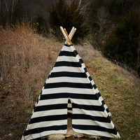 Teepee Play Tent - Children Toddler - Poles Included Black and Natural Stripe