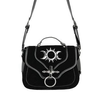 Restyle Triple Goddess Pagan Moon Phases Gothic Wicca Vegan Suede purse