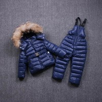 Hot new Children Winter Clothes for kids baby big girl Ski sport Suit fur hooded ski Warm girl Coats Jackets+Bib Pants sports