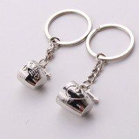 Creative 2Pcs Pair Romantic Couple Cups Keychain for Lovers Metal Keychain Wedding Gifts  SM6
