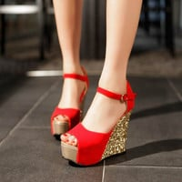 Summer new arrival 2016 women wedges sandals high heels open toe shoe scrub paillette red wedding shoes bridal shoes female