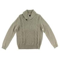 Toscano Mens Wool Blend Cable Knit Shawl-Collar Sweater
